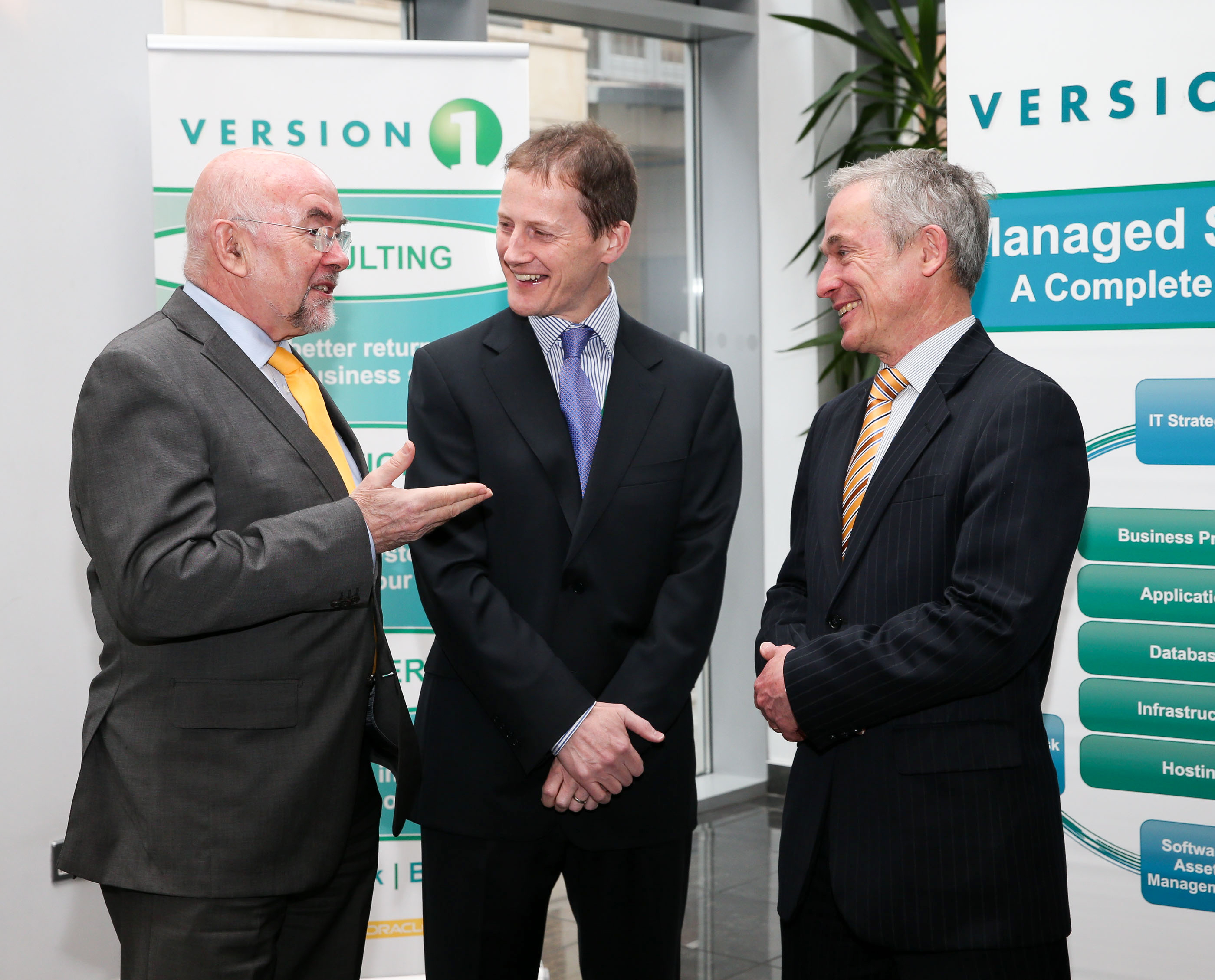 Version 1 CEO Justin Keatinge welcomes Minister for Jobs, Enterprise and Innovation, Richard Bruton TD, and the Minister for Education and Skills, Ruairi Quinn TD, to Version 1 Headquarters