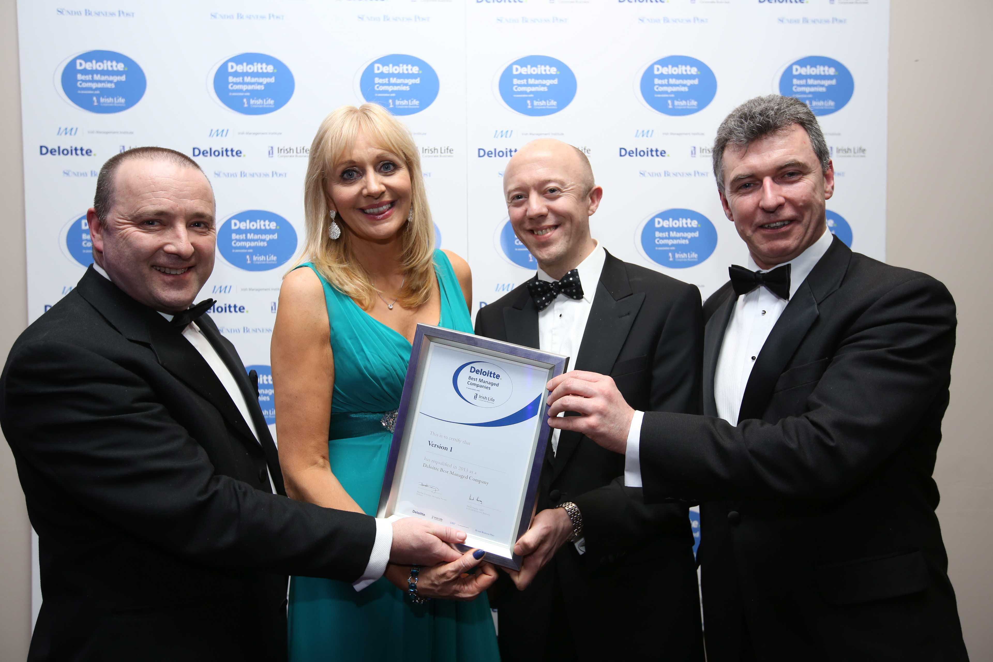 Best Managed Award Presented to Version 1 by Miriam O'Callaghan